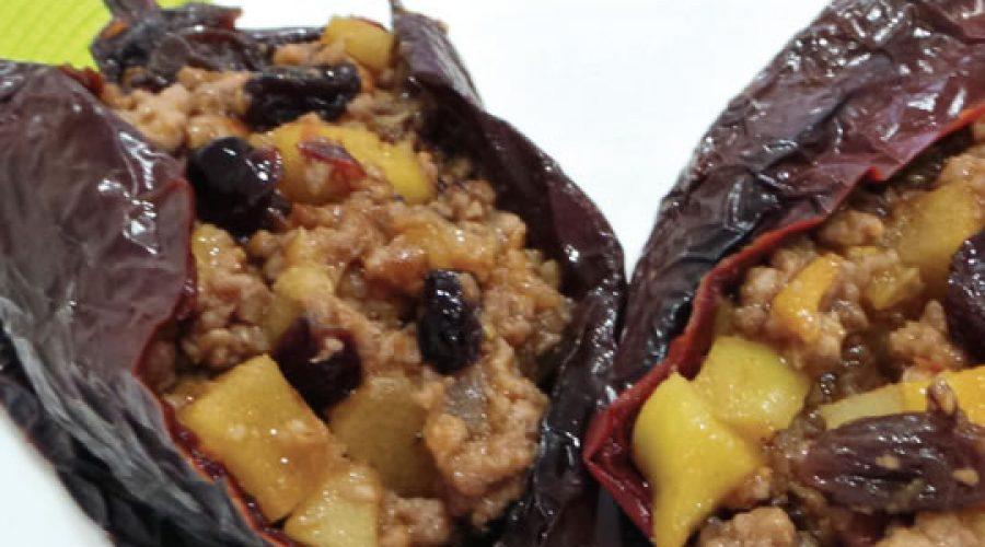 Receta Chiles Secos rellenos de Carne con Frutos